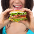 Fast food concept. Tasty unhealthy burger sandwich — Stock Photo #47096789