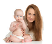 Happy family mother and new born child baby girl  — Stock Photo