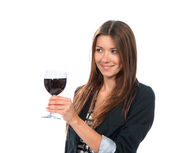 Portrait of young woman tasting sampling red wine alcohol drink  — Stockfoto