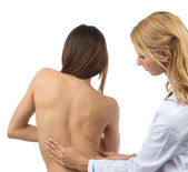 Doctor research patient spine scoliosis deformity backache — Stock Photo