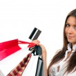 Woman with shopping bags, credit gift card — Stock Photo #5178624