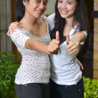 Two Girls Posing Thumbs — Stock Photo