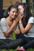 Two Girls Gosssips — Stock Photo