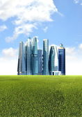 Green futuristic city — Stock Photo