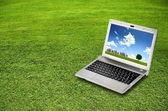 Laptop zielona — Zdjęcie stockowe