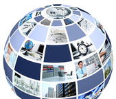 Office collage in globe shape — Stock Photo