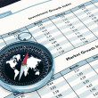 Compass and Financial report — Stock Photo