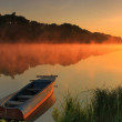 Boat on the shore of a misty lake — Stock Photo #29441557