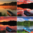 Stock Photo: Collage of landscapes with boat