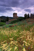 The tower of a medieval castle on the background of stormy skies — Foto de Stock