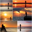 Foto Stock: Collage of fisherman
