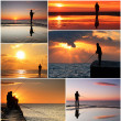 Stock Photo: Collage of fisherman