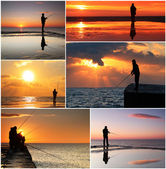 Collage of fisherman — Stock Photo