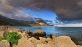 Rainbow over the ocean bay — Stock Photo