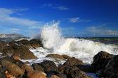 Bouře na břehu moře — Stock fotografie