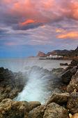 在海湾的海上日出的全景 — 图库照片