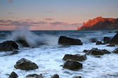 Sonnenaufgang am strand meer — Stockfoto