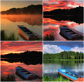 Collage of landscapes with a boat — Stock Photo