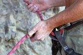 Climbers hands — Stock Photo