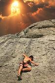 Climber on sunset — Stock Photo