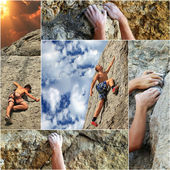 Collage of the elements of rock climbing — Stock Photo