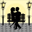Silhouette of a loving couple on a bench — Stock Vector