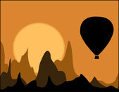 Balloons in Cappadocia at dawn sky background — Stock Vector