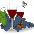 Grapes with a glass of red wine and butterflies — Stock Vector