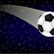 Soccer ball in the night sky — Stock vektor
