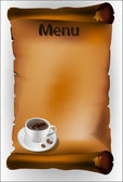 Coffee menu on the parchment  — Stockvector