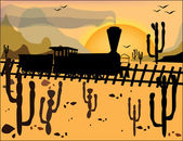 Steam locomotive on the wild west on the background of mountains — Vetor de Stock
