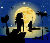 Mermaid silhouette against the night landscape — Stock Vector