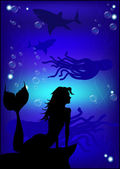 Beautiful mermaid silhouette against the background of the under — Stock Vector
