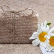 Stock Photo: Soap on vintage natural cloth with flowers