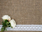 Postcard with flowers on sacking cloth — Stock Photo