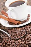 Kaffekopp omgiven av kaffebönor och scoop. — Stockfoto