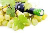 Fles wijn van druiven bladeren en druiven. — Stockfoto