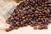 Dispersing the sack of coffee beans. — Stock Photo