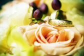 Anillo de compromiso dos entre las flores. — Foto de Stock