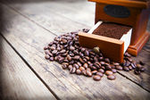 Coffee beans and ground coffee. — Stock Photo