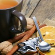Tea, orange, cinnamon, Christmas mood. — Stock Photo