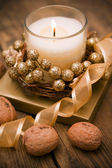 Decorative festive candles on the table. — Stock Photo
