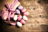 Easter eggs painted on the wooden background. — Stock Photo