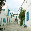 Stock Photo: Street in town of Sidi Bou Said in Tunisia