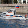 Rescue boat on the Moscow River — Stock Photo