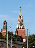 And Spassky Tower of Moscow Kremlin Tsar — Stock Photo