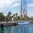 Big sailboat in Barcelona harbour for romantic travel. — Стоковое фото #7992122