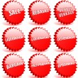 Set of red 3D vector star badges with word sale in different lan — Stock Vector #7991970