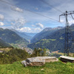 Modern aerial view of swiss alps - powerline, roads and strange — Stock Photo #8109831