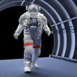 Astronaut in the tunnels - Stock Photo